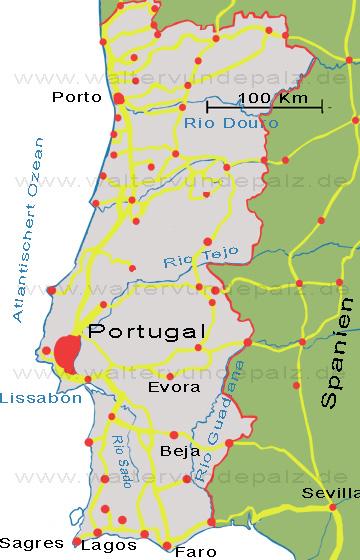 Portugal Karte Mit Reiseroute Der Musikerreise Walter Vun De Palz